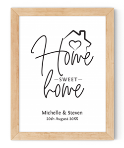 personalised home sweet home framed wall art