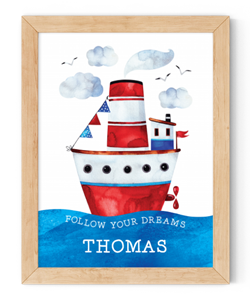 personalised follow your dreams sailing ship framed wall art
