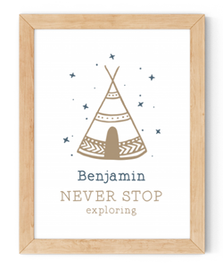 personalised never stop exploring framed wall art