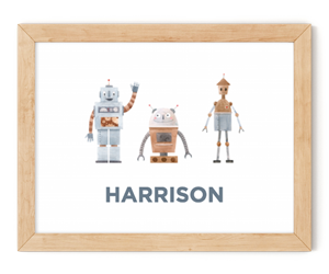 personalised robots framed wall art