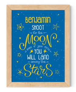 personalised shoot for the moon framed wall art