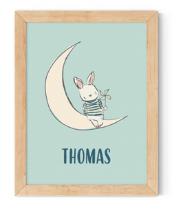 personalised rabbit on the moon framed wall art