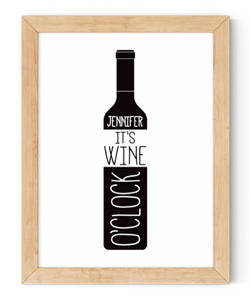personalised it's wine o'clock framed wall art