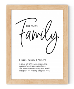personalised family framed wall art