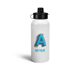 personalised letter a doodle sports water bottle
