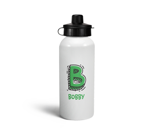 personalised letter b doodle sports water bottle