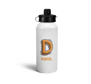 personalised letter d doodle sports water bottle