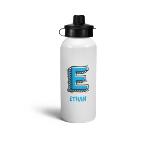 personalised letter e doodle sports water bottle