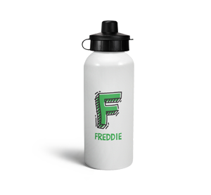 personalised letter f doodle sports water bottle