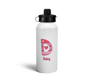 personalised hearts letter d sports water bottle