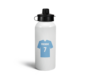 personalised light blue football shirt sports water bottle