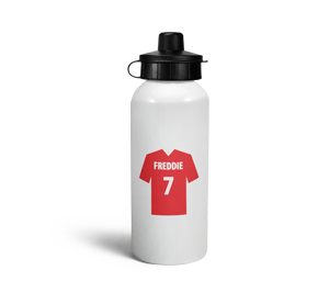personalised red football shirt sports water bottle
